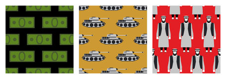 War in Syria. Set of seamless pattern. Many money. Military tran Royalty Free Stock Photos