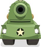 War Tank Aiming Front View. Illustration cartoon Royalty Free Stock Photography