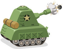 War Tank shooting. Projectile side view,  illustration cartoon Stock Images