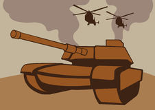 War with tanks and helicopters. A war scene with tanks and helicopters. Vector illustration Stock Image