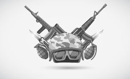 War theme with helmet and weapons vector illustration