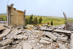 After war. The thrown buildings in the demilitarised zone on the Syrian-Israeli border Stock Image