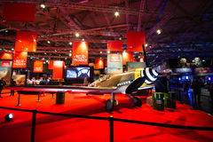 War Thunder booth. COLOGNE - AUGUST 13: War Thunder booth at Gamescom 2014, largest european videogames exhibition held in Cologne, DE Stock Images
