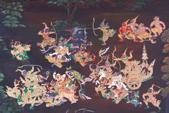 War in traditional Thai style art painting. On temple's wall (Ramayana story Stock Images