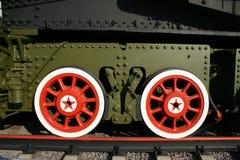 War train 1. A WWII museum war train colored car wheels Royalty Free Stock Photo