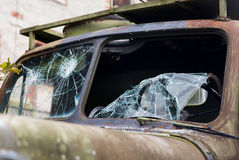 War truck with broken windshield glass outdoors Royalty Free Stock Photos
