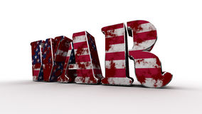 War USA. The word war as a 3d-object textured with a dirty blood-stained us-flag Stock Image