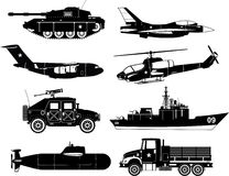 War vehicles icon set royalty free illustration