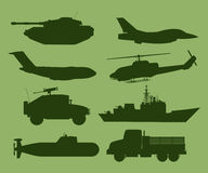 War vehicles silhouettes Stock Image