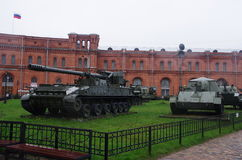 War vehicles. A Tank And APC (BTR) at the museum Stock Photography