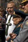 War veteran man portrait. He makes a speech. Royalty Free Stock Photography
