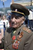 War veteran man portrait. Victory Day celebration in Moscow. Stock Photography