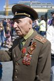 War veteran man portrait. Victory Day celebration in Moscow. Royalty Free Stock Image