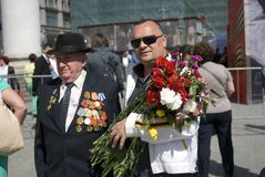 War veteran man portrait. Victory Day celebration in Moscow. Stock Photos