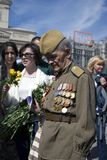 War veteran man portrait. Victory Day celebration in Moscow. Royalty Free Stock Photos