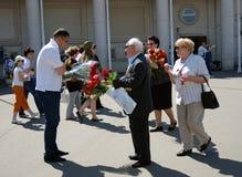 A war veteran receives flowers Stock Photos