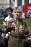 War veteran woman portrait. She makes a speach. Stock Images