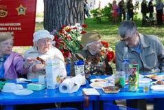 War veterans celebrate Victory Day in Gorky park. Stock Photography