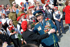 War veterans dance and sing war songs Royalty Free Stock Photography