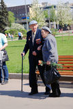 War veterans in Gorky park Royalty Free Stock Image