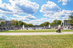War veterans in National World War 2 Memorial in spring Royalty Free Stock Image