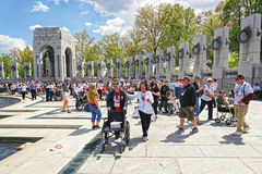 War veterans at National World War Two Memorial Pacific Arch Royalty Free Stock Photography