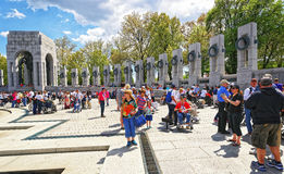 War veterans on National World War Two Memorial Pacific Arch Royalty Free Stock Photo