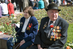 War veterans portrait. Victory Day celebration in Moscow. Stock Image