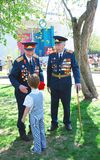 War veterans receive flowers Stock Photography