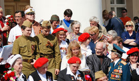 War veterans sing war songs on the Theater Square Royalty Free Stock Images