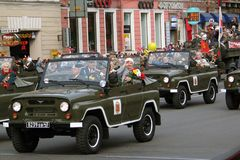 Veterans at Military parade in Russia Royalty Free Stock Photo