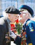 War veterans speak to each other. Royalty Free Stock Photography