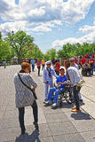 War veterans and tourists at Lincoln Memorial in Washington DC Stock Images