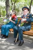 War veterans woman and man portrait. Stock Image