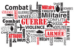 War violence word cloud  in french Royalty Free Stock Photos