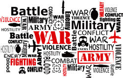 War violence word cloud vector illustration. War violence word cloud red and black vector illustration eps.10 Royalty Free Stock Photography