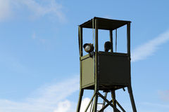 War watchtower. Green khaki watchtower for surveillance during war Royalty Free Stock Photography