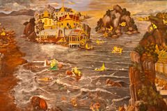 War in the water. Painting of Ramayana in the temple of emerald Buddha Royalty Free Stock Photo