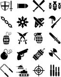 War and weapon icons. A set of icons related to war, warfare and weapons technology Royalty Free Stock Images
