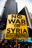 War! What Is It Good For?. New York City protest of Syrian invasion Stock Image