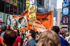 War! What Is It Good For?. New York City protest of Syrian invasion Stock Photos
