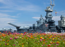 War in the Wildflowers. Battleship USS North Carolina BB-55, located in Wilmington, North Carolina, taken from a different perspective Stock Image