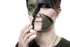 War woman with weapon Stock Photography