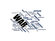WAR - word cloud wordcloud - terms from the globalization, economy and policy environment Royalty Free Stock Images