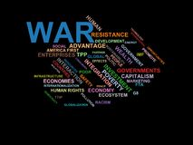 WAR - word cloud wordcloud - terms from the globalization, economy and policy environment Royalty Free Stock Photography