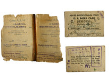 War world 2 POW documents. WW 2 POW documents isolated on white stock photos