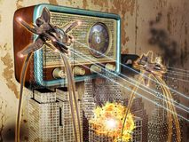 War of the worlds radio broadcast. Illustration of the radio broadcast of the War of the Worlds novel, on october 30, 1938 Royalty Free Stock Photography