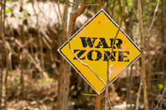 War zone signboard Stock Photo