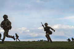 War zone with soldiers Stock Photo
