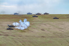 War zone with tanks Stock Photos